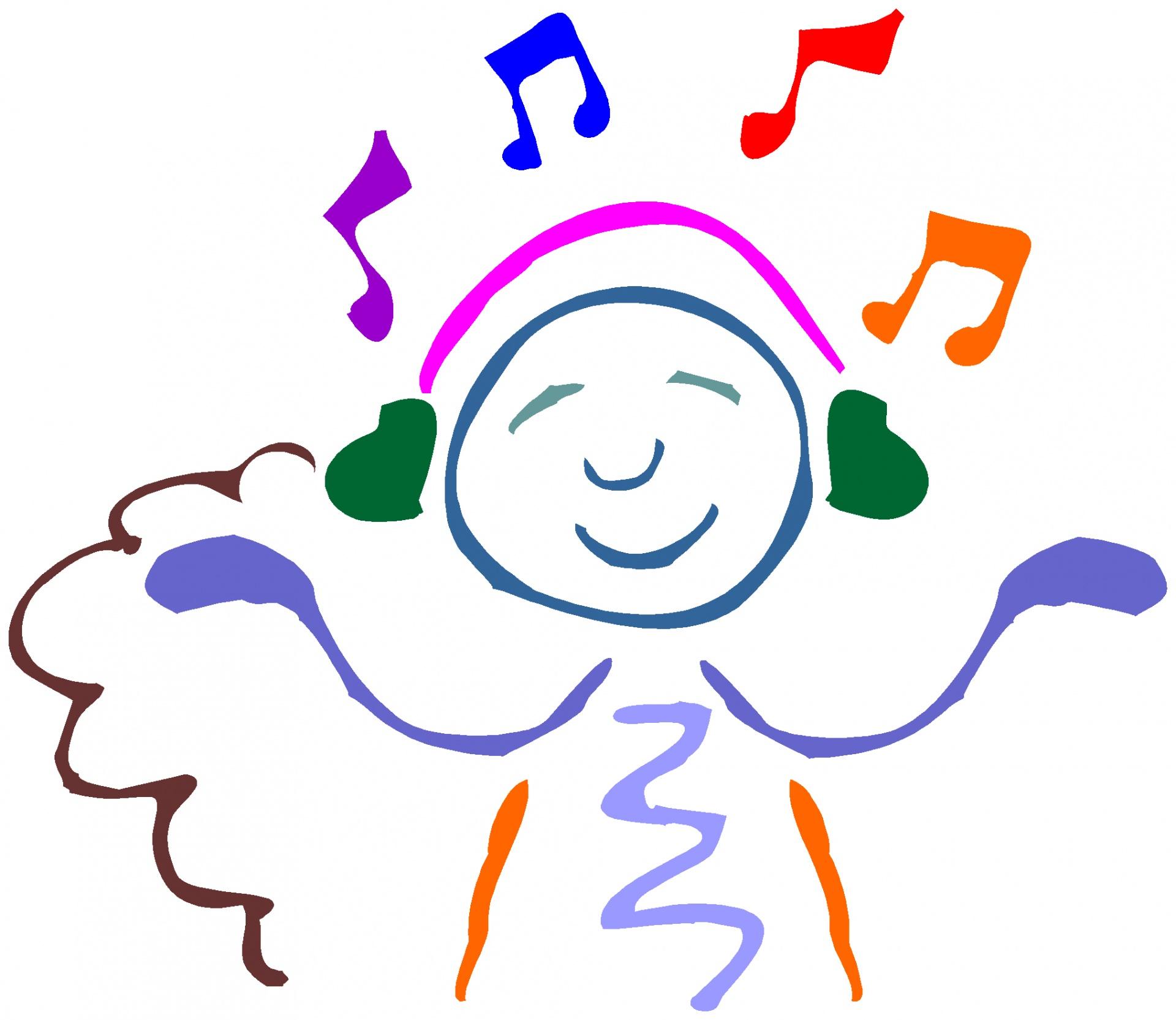 A stick figure listening to music